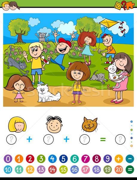 Matematica algebra attività cartoon illustrazione educativo Foto d'archivio © izakowski