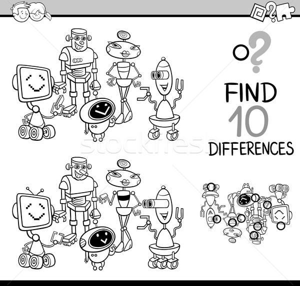 Differenze gioco bianco nero cartoon illustrazione Foto d'archivio © izakowski