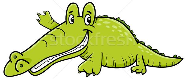 Krokodil rajzfilmfigura rajz illusztráció aligátor hüllő Stock fotó © izakowski