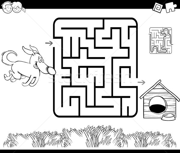 maze with dog and kennel coloring page Stock photo © izakowski