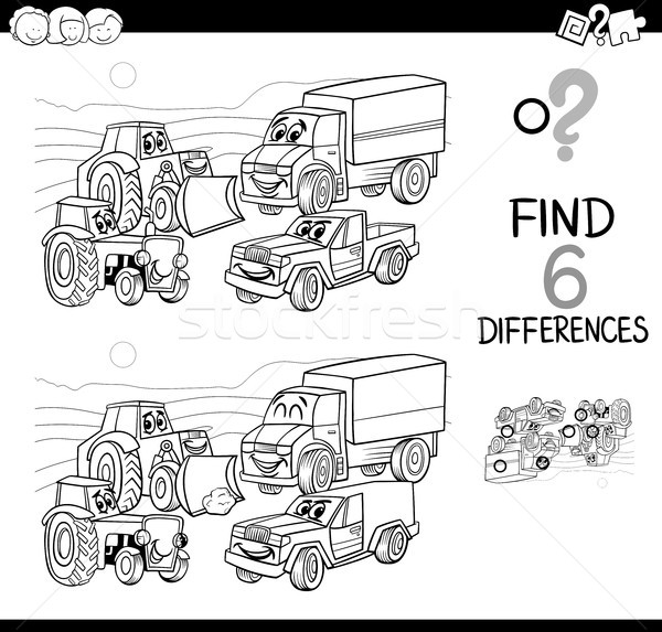 spot the difference with cars coloring book Stock photo © izakowski