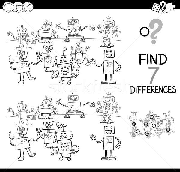 differences game with robots color book Stock photo © izakowski