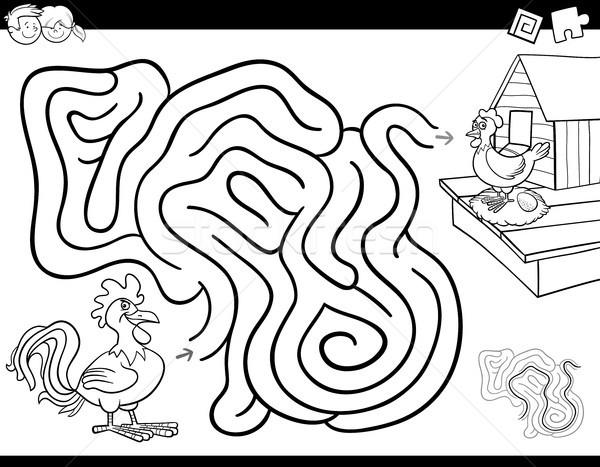 Foto stock: Labirinto · jogo · livro · para · colorir · galo · galinha · preto · e · branco