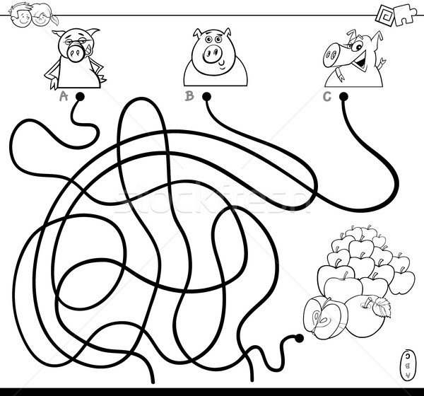 path maze with pigs and apples color book Stock photo © izakowski