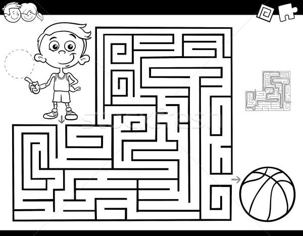 Labirynt kolor książki chłopca koszykówki czarno białe Zdjęcia stock © izakowski