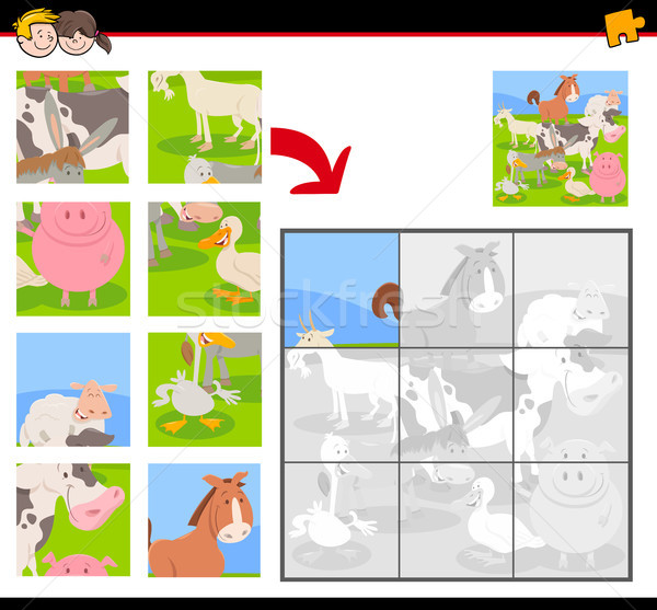 jigsaw puzzles with farm animal characters Stock photo © izakowski