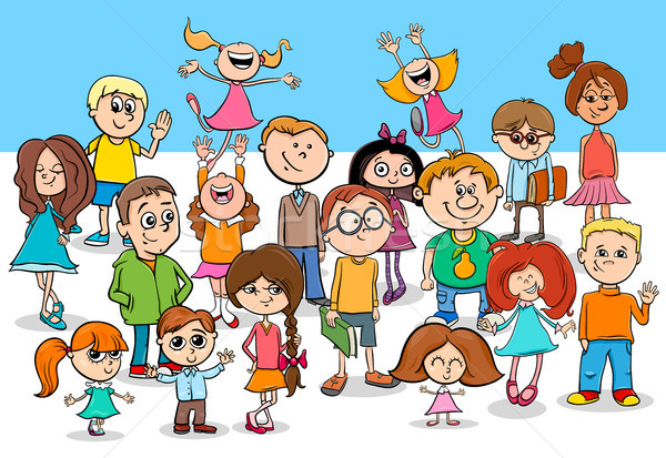 kid boys and girls cartoon characters group Stock photo © izakowski