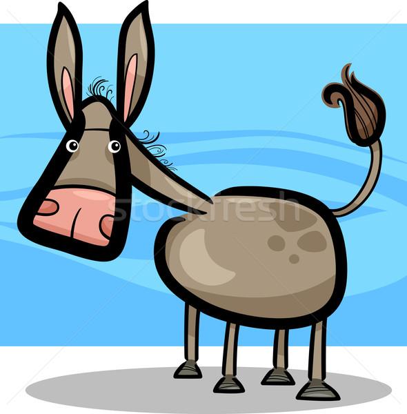 Cartoon illustratie cute ezel doodle boerderij Stockfoto © izakowski