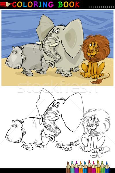 サファリ動物 塗り絵の本 漫画 実例 ストックフォト © izakowski