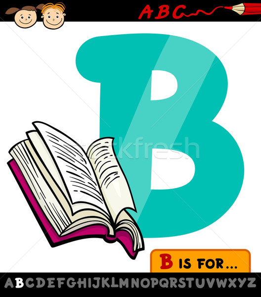letter b with book cartoon illustration Stock photo © izakowski