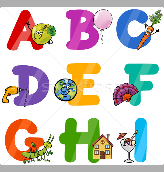 Education Cartoon Alphabet Letters for Kids Stock photo © izakowski