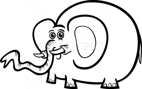 Fil Karikatür Boyama Kitabı Siyah Beyaz örnek Sevimli