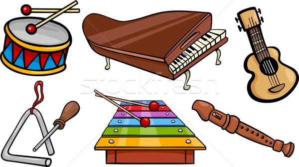 Musical objets cartoon illustration instruments de musique Photo stock © izakowski
