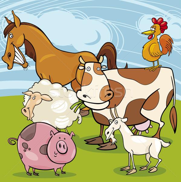 Boerderijdieren cartoon groep illustratie cute Stockfoto © izakowski