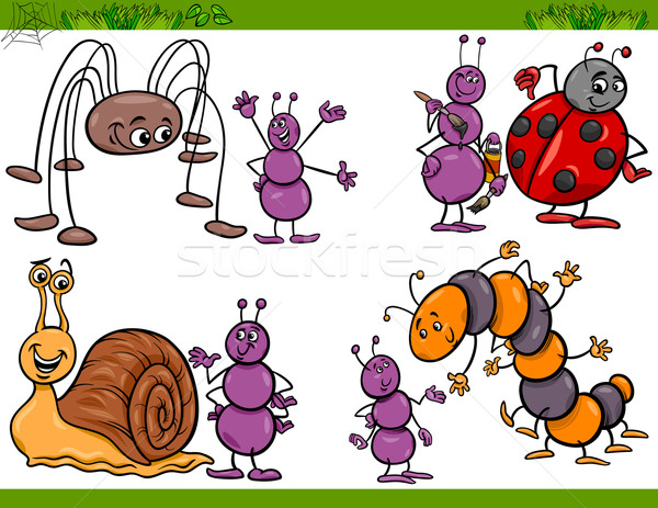 Stock photo: happy insects set cartoon illustration