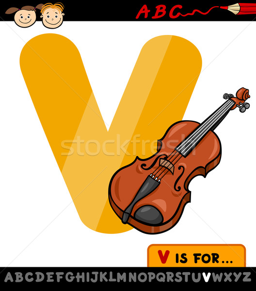 letter v with violin cartoon illustration Stock photo © izakowski
