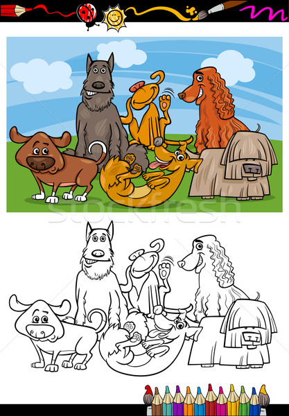 Stock photo: funny dogs cartoon coloring book