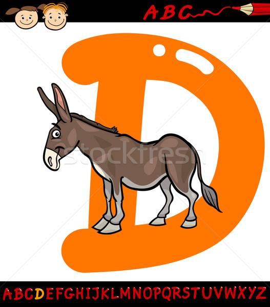 D betű szamár rajz illusztráció nagybetű ábécé Stock fotó © izakowski