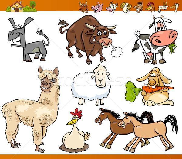 сельскохозяйственных животных набор Cartoon иллюстрация смешные Сток-фото © izakowski