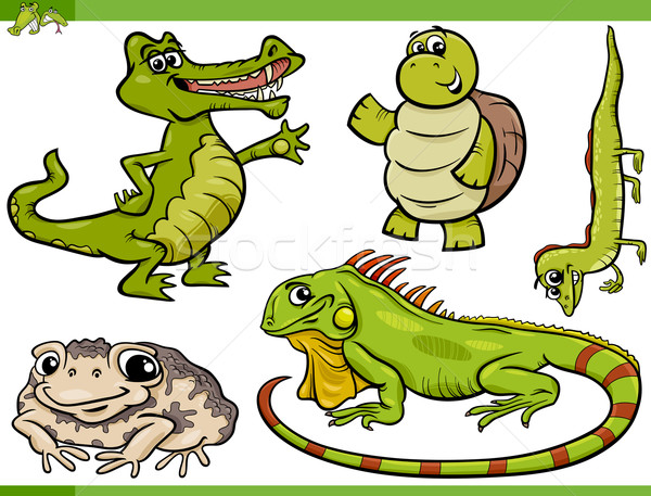 reptiles and amphibians cartoon set Stock photo © izakowski