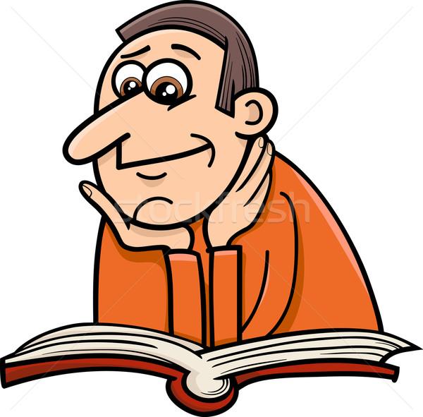 Okuyucu adam karikatür örnek kitap komik Stok fotoğraf © izakowski
