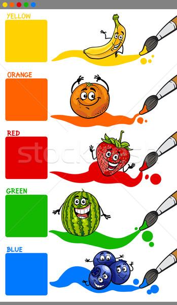 Stockfoto: Hoofd- · kleuren · cartoon · vruchten · illustratie · primair