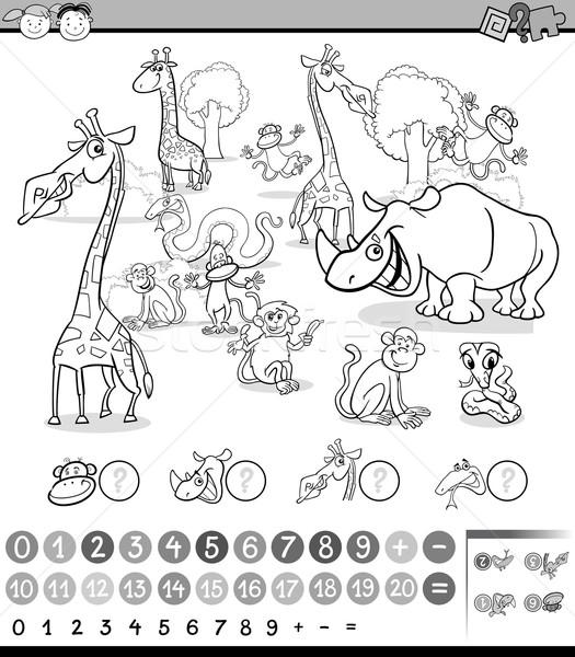 Dieren activiteit zwart wit cartoon illustratie onderwijs Stockfoto © izakowski