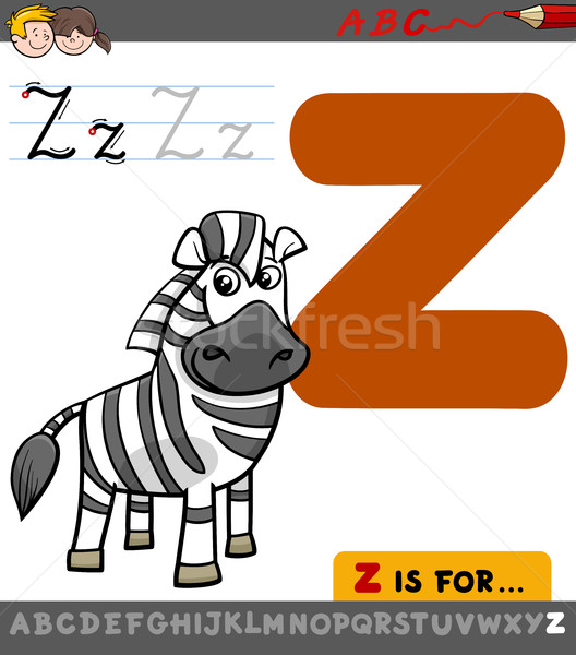 letter z with cartoon zebra Stock photo © izakowski