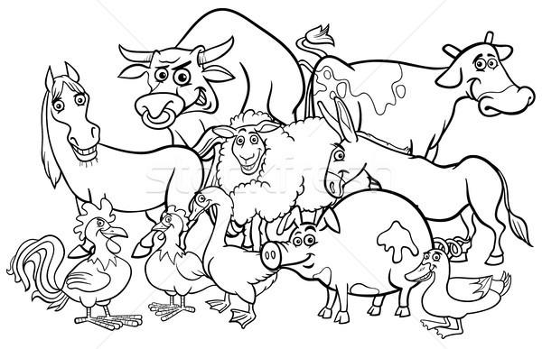 cartoon farm animals coloring book vector illustration © Igor ...