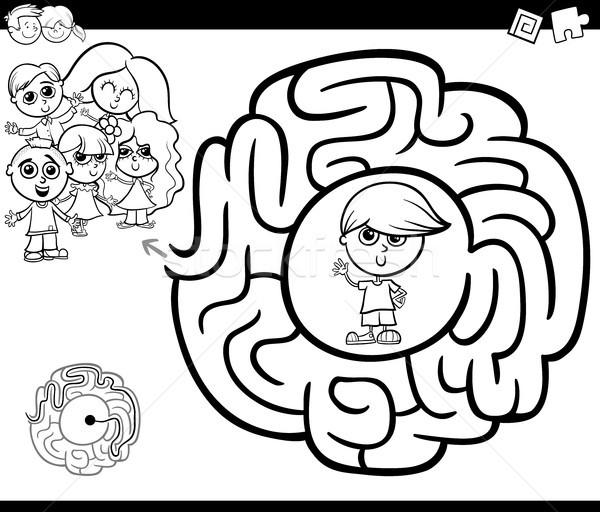 Foto stock: Labirinto · atividade · crianças · preto · e · branco · desenho · animado · ilustração