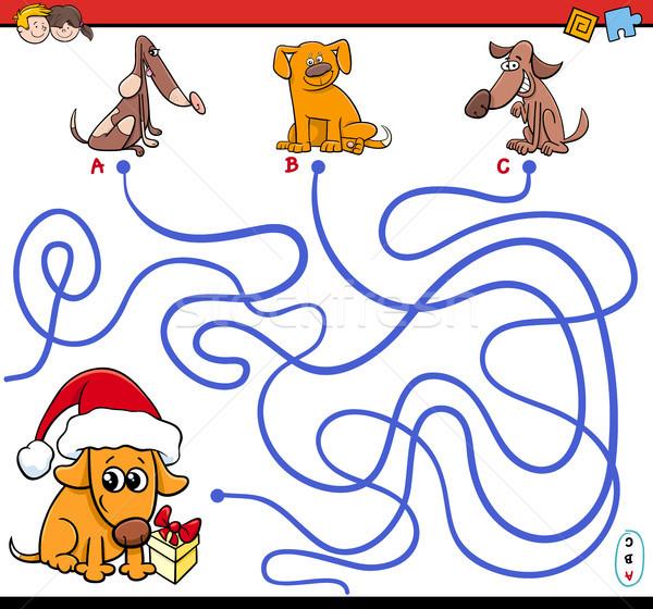 Stock fotó: Labirintus · játék · rajz · kutyák · illusztráció · puzzle