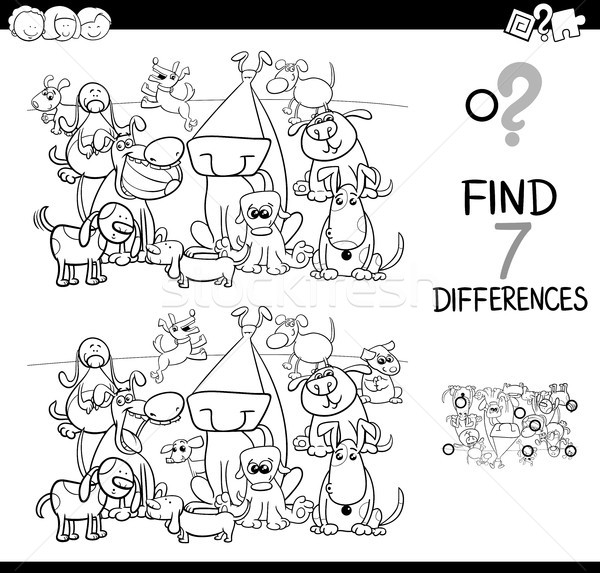 見つける 違い 犬 塗り絵の本 黒白 漫画 ストックフォト © izakowski