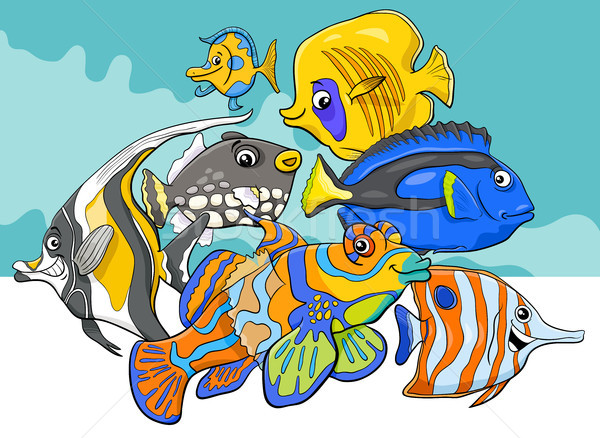 tropical fish sea life animal characters group Stock photo © izakowski