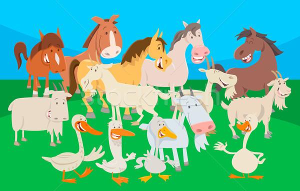 cute farm animal cartoon characters group Stock photo © izakowski