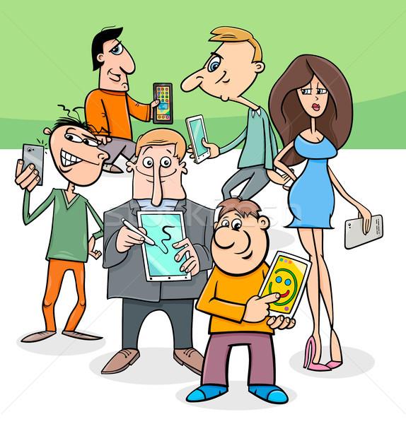 Stock fotó: Rajzolt · emberek · csoport · elektronikus · eszközök · rajz · illusztráció
