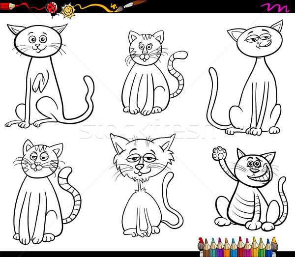 Komik Kediler Boyama Kitabi Siyah Beyaz Karikatur