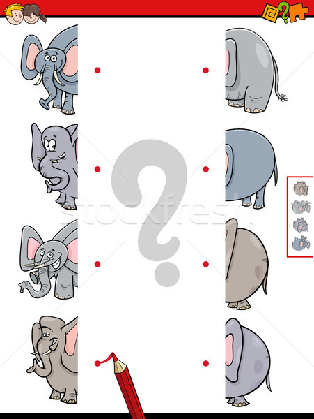 match halves of elephant educational game Stock photo © izakowski