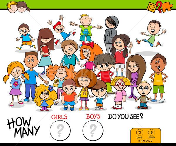 counting girls and boys educational activity Stock photo © izakowski