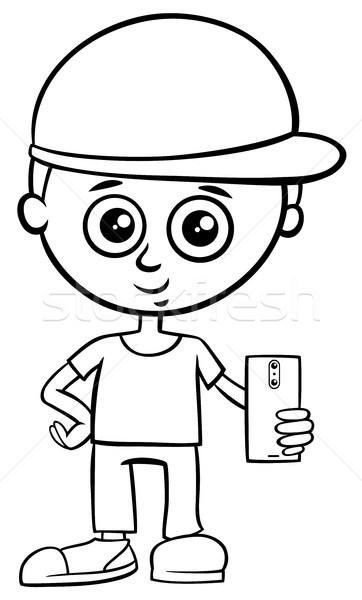 boy character with smart phone color book Stock photo © izakowski