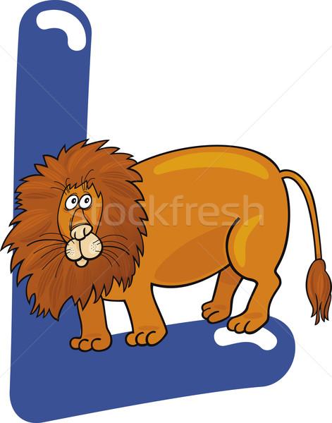 Leão desenho animado ilustração carta livro feliz Foto stock © izakowski