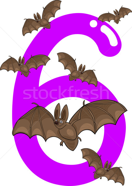 Stock photo: number six and 6 bats
