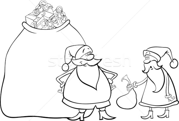 santa claus cartoon for coloring Stock photo © izakowski