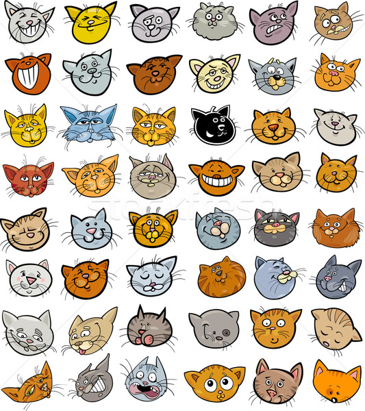 Cartoon funny cats heads big set Stock photo © izakowski