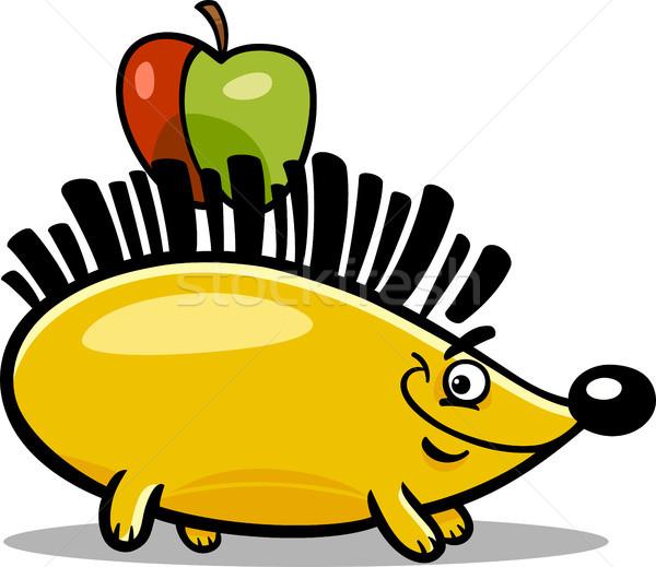Igel Apfel Karikatur Illustration Comic Tier Vektor