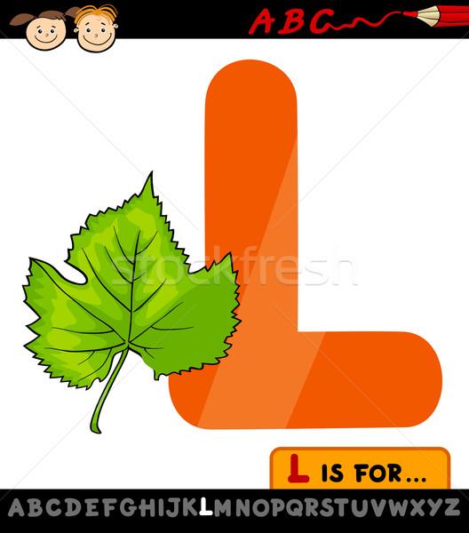 Letter l blad cartoon illustratie hoofdletter alfabet Stockfoto © izakowski