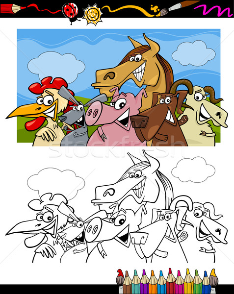 Animais de fazenda desenho animado livro para colorir página ilustração conjunto Foto stock © izakowski