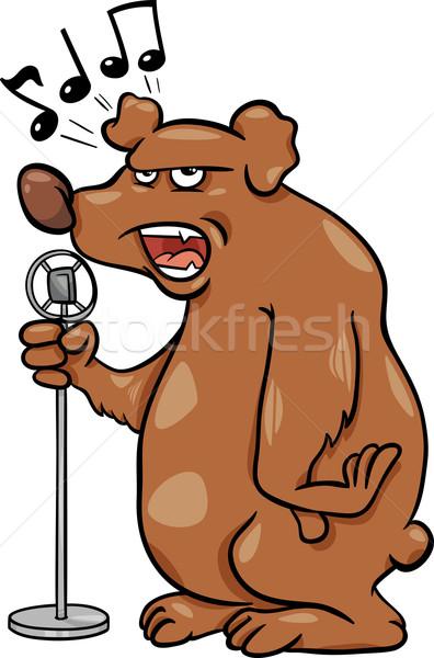 singing bear cartoon illustration Stock photo © izakowski