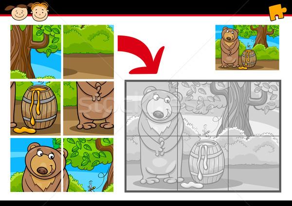 Rajz medve kirakós játék játék illusztráció oktatás Stock fotó © izakowski