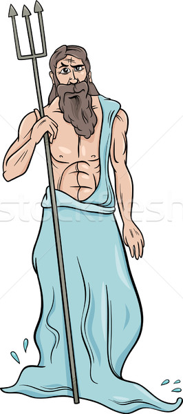 greek god poseidon cartoon illustration Stock photo © izakowski