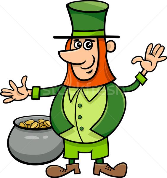 leprechaun with pot of gold Stock photo © izakowski